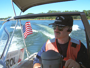 Doug and Carol Patterson on Coast Guard Auxiliary patrolling Lake Keowee and Lake Hartwell